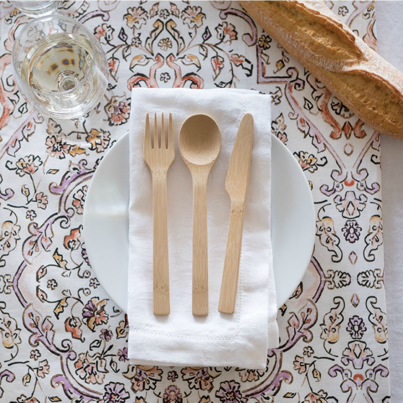 Bamboo Cutlery Set: Spoon, Knife & Fork on plate setting