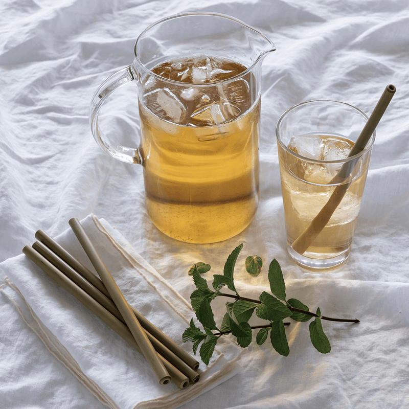 Reusable Bamboo Straws with iced tea