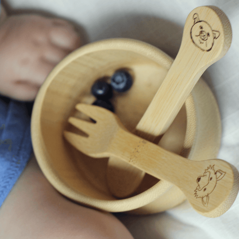 Organic Bamboo Kid's Fork & Spoon (18M+) in bowl