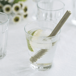 Reusable Short Bamboo Straw in glass with lime