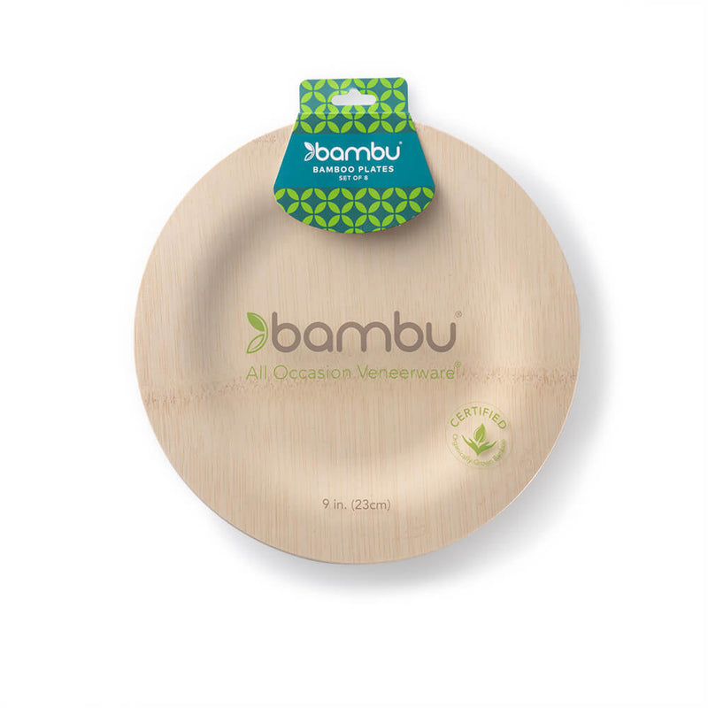 Veneerware® Bamboo Round Plates salad in pack