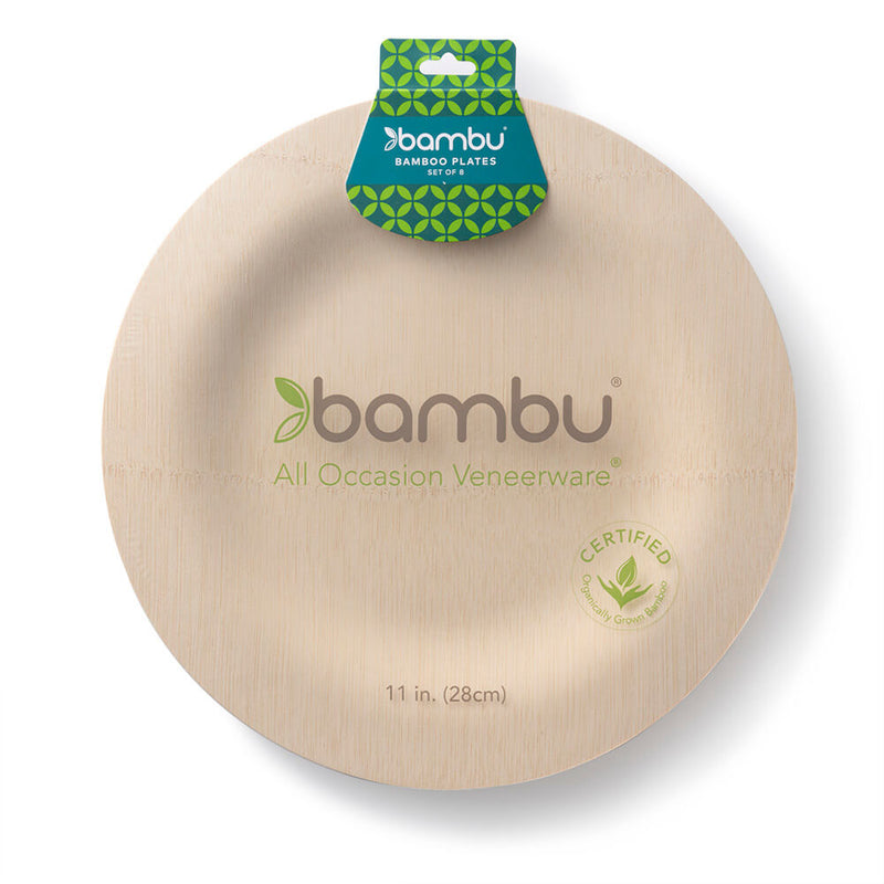 Veneerware® Bamboo Round Plates dinner in pack