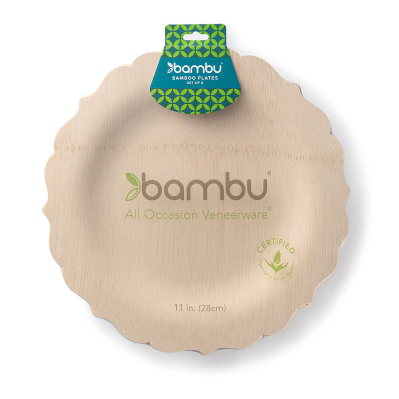Veneerware® Fancy Bamboo Plates 11""