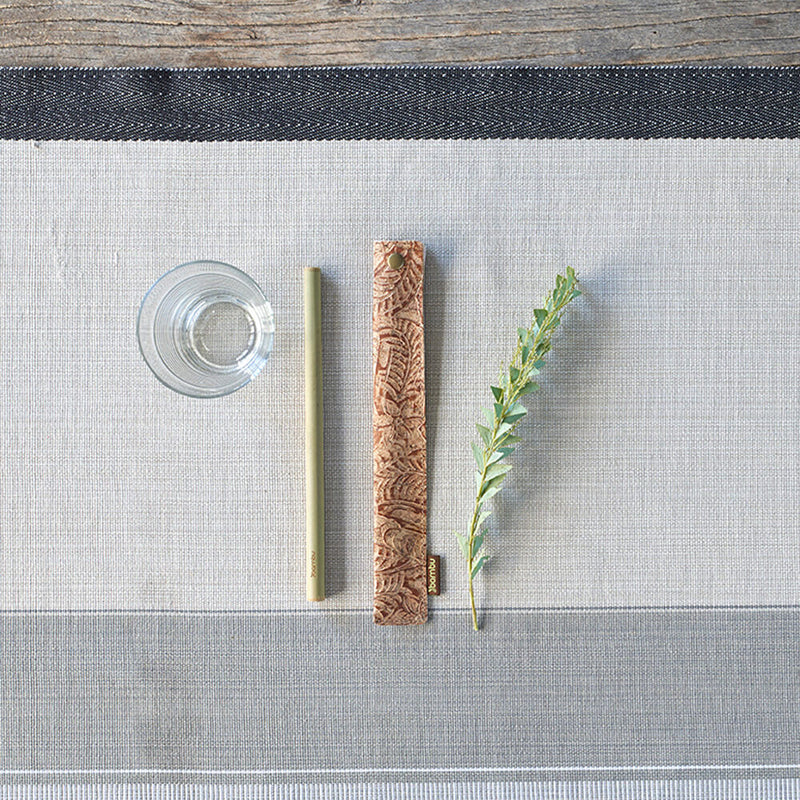 cork fabric straw sleeve for glass straw