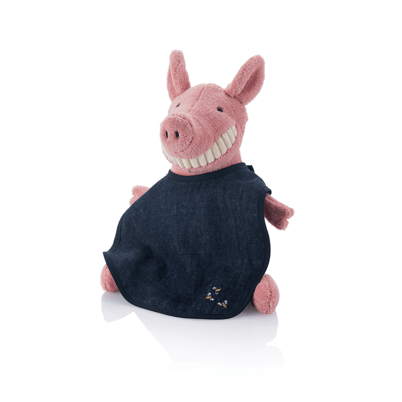 Hemp Denim Soft Baby Bib on stuffed pig