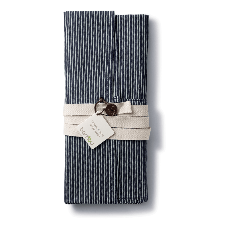 Organic Cotton Stripe Apron folded
