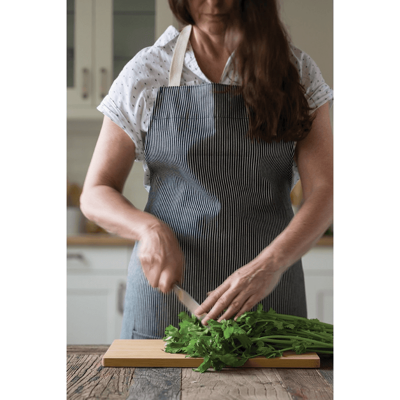 Organic Cotton Stripe Apron on cook in the kitchen