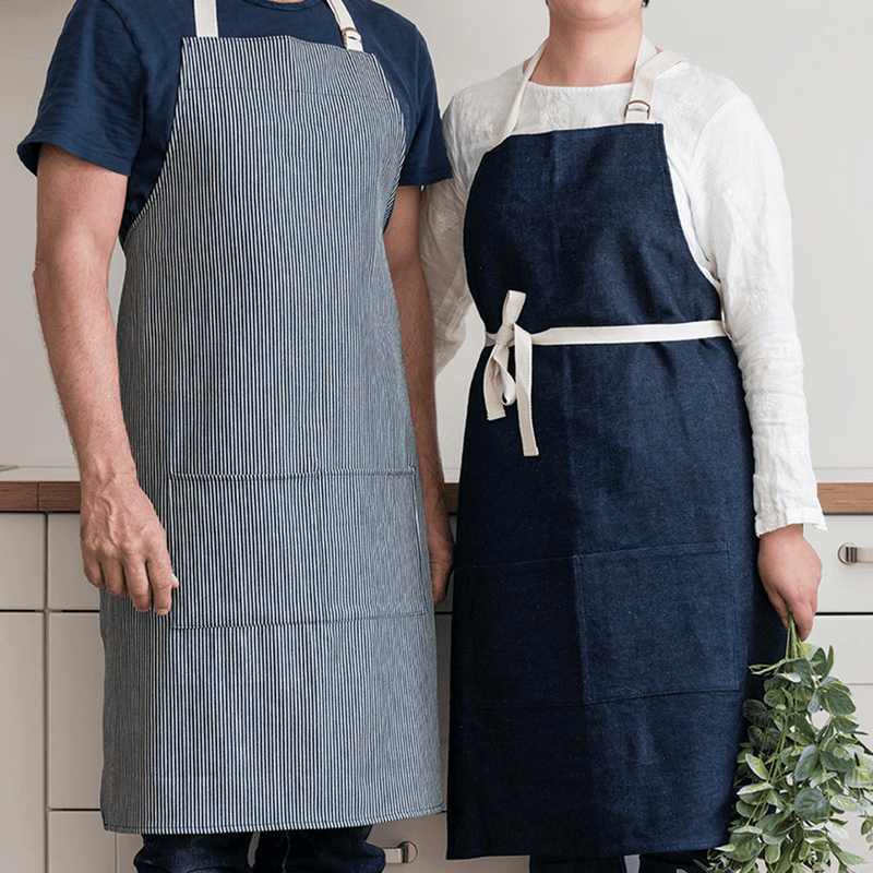 Hemp Denim Apron on a man and a woman