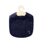 Hemp Denim Soft Baby Bib on hanger