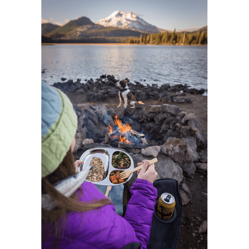 Eco Lunchbox Camping Tray eating outside at the lake
