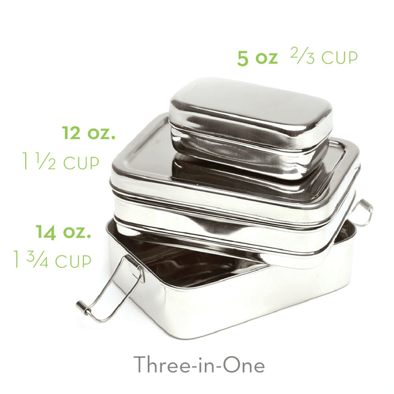 Eco Lunchbox Three-in-One Classic portion sizes