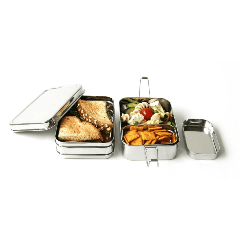 Eco Lunchbox Three-in-One Classic with sandwich and fruit
