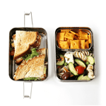 Eco Lunchbox Three-in-One Classic with crackers and sandwich