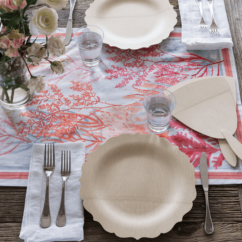 Veneerware® Bamboo Fancy Plates with table setting