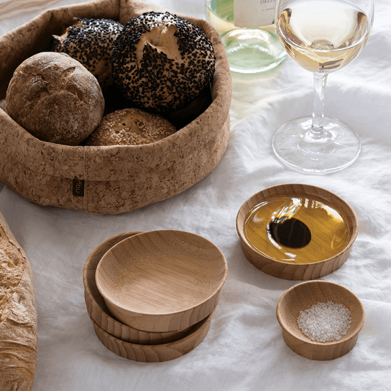 Condiment Cups, Large (set of 2) with cork bowl and olive oil - bambu