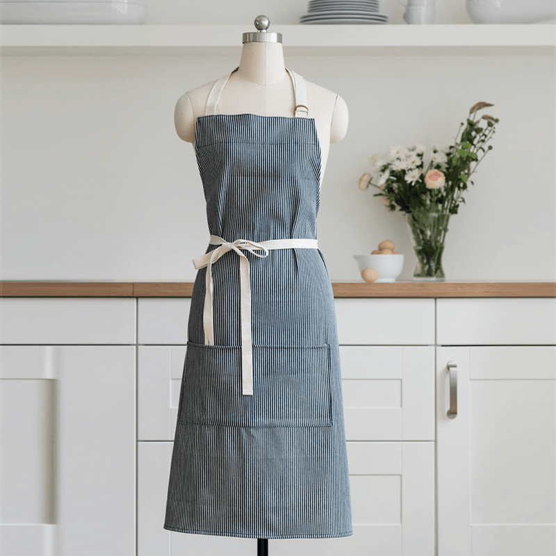 Organic Cotton Stripe Apron with tie