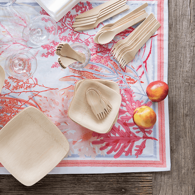Veneerware® Bamboo Sporks and party appetizer plates