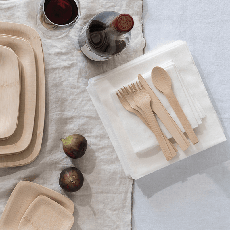Veneerware® Bamboo Knife, Fork, Spoon Sets on napkin
