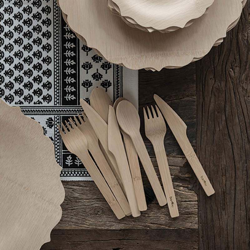 Veneerware® Bamboo Knife, Fork, Spoon Sets with fancy plates