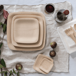 Veneerware® Square Bamboo Plates for dinner parties