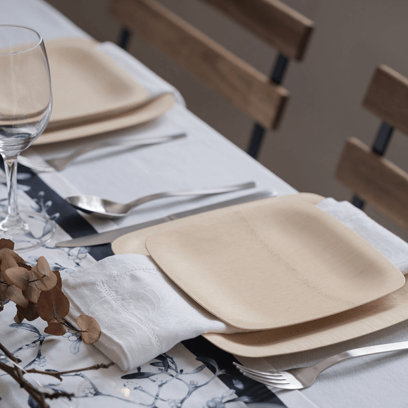 Veneerware® Square Bamboo Plates dinner table