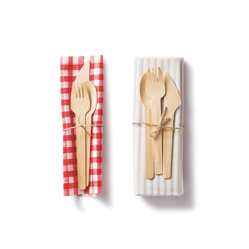 Veneerware® Bamboo utensils with napkin