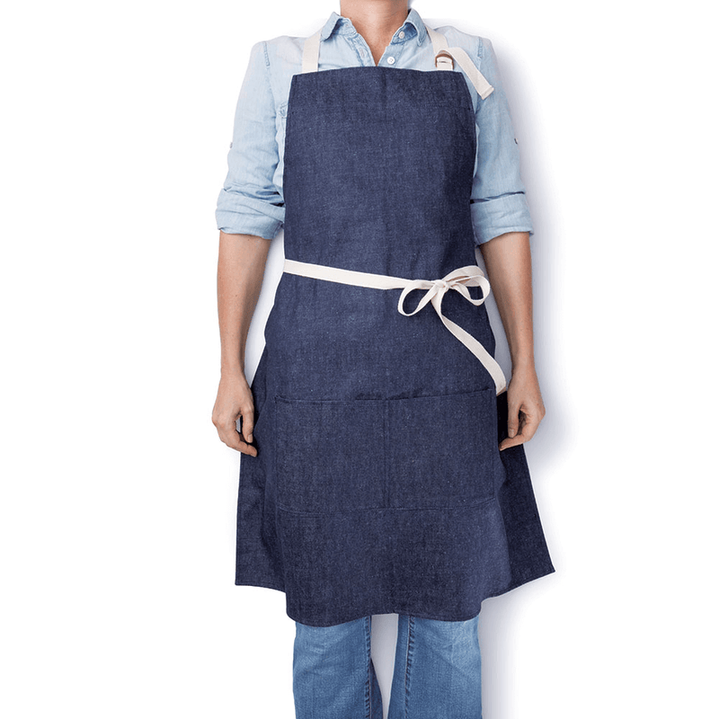 Hemp Denim Apron on person