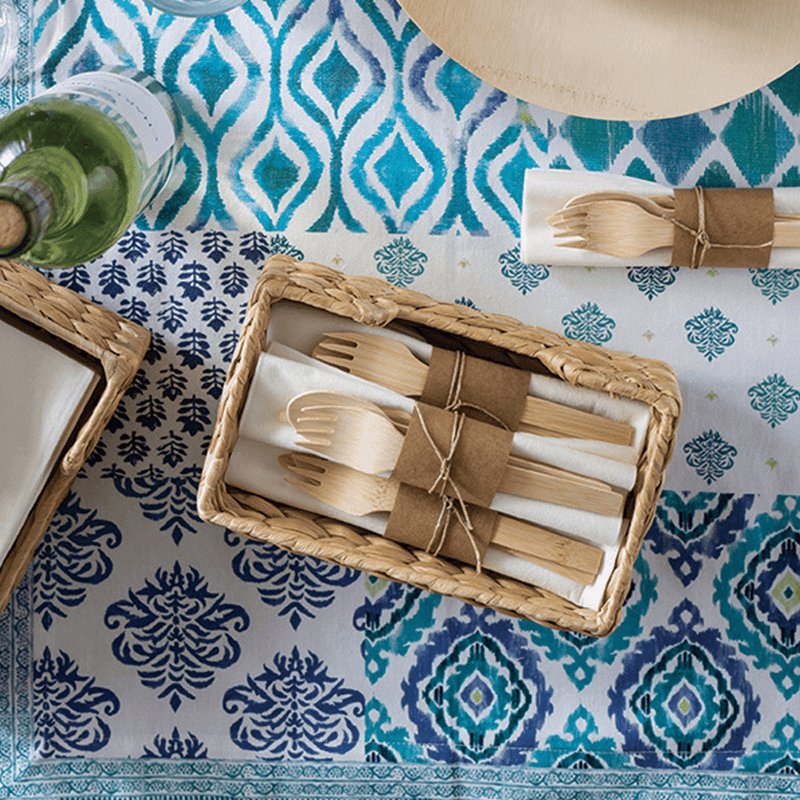Veneerware® Bamboo Forks rolled with cutlery