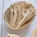 Veneerware® Bamboo Forks spoons and knives in basket