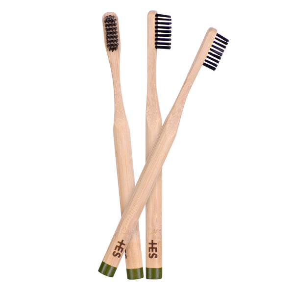 Charcoal Bristle Bamboo Toothbrush - 3 Pack