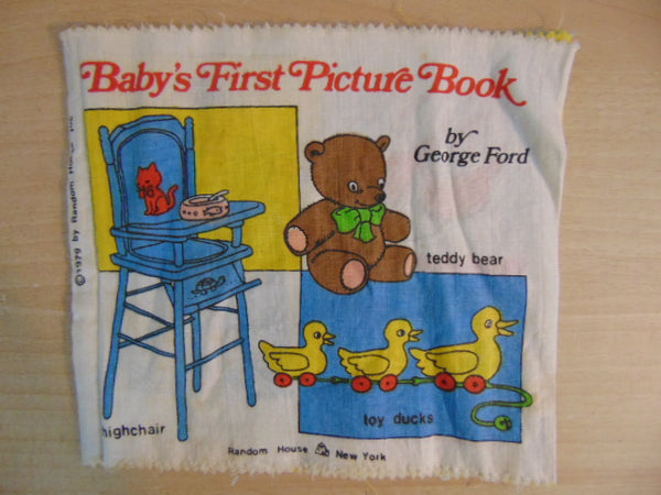 Soft Cloth Book Vintage 1979 Baby's First Picture Book Machine Washable