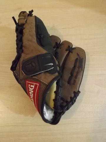 "Baseball Glove Child Size 10"" Spalding Brown Leather Fits Left Hand"