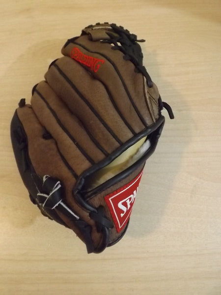 "Baseball Glove Size 10"" Child Spalding Brown Leather Fits Left Hand"