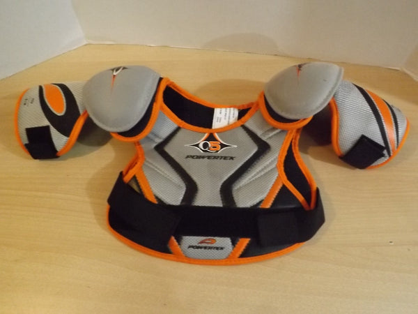 Hockey Shoulder Chest Pad Child Size Y Small Powertek Grey Orange Black Age 3-4