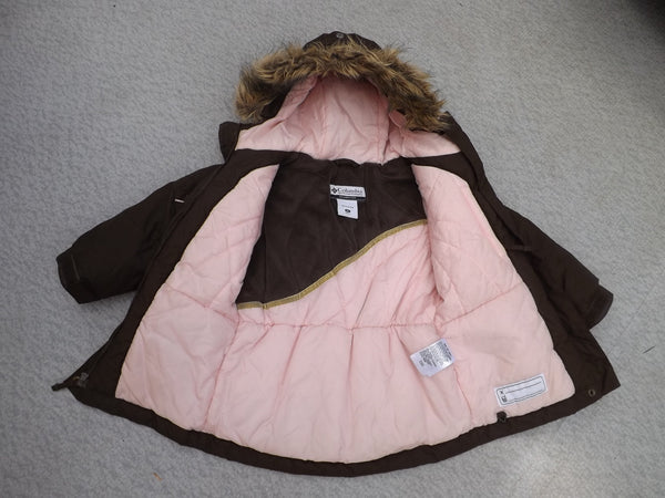 Winter Coat Child Size 3 Columbia Brown Pink Faux Fur