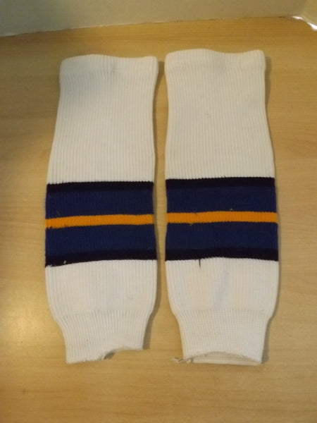 "Hockey Socks Child Size 18"" Ages 4-7 White Blue Yellow"
