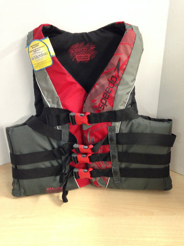Life Jacket Adult Size X Large Speedo 4 Buckle Water Sports Microban NEW Red Grey Black