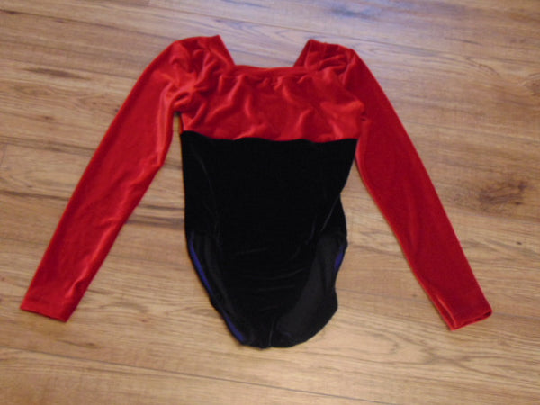 Ballet Dance Figure Skating Child Size 14 Red Black Velour