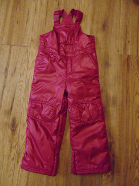 Snow Pants Child Size 4 Baby Gap Fushia Pink with Bib Micro Fleece Lined Inside.