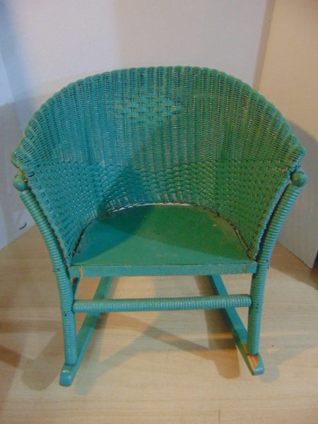 Antique 1930's Childrens Rocking Chair Wood Wicker Rattan and Metal Base Seat Rolled Back and Arms