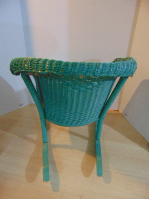 Awesome Antique 1930u0027s Childrens Rocking Chair Wood Wicker Rattan And Metal Base  Seat Rolled Back And Arms