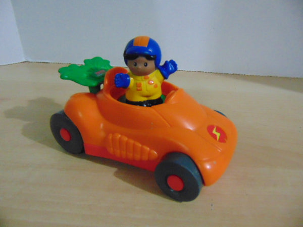 Fisher Price Little People Vehicles #7 Real Sounds Orange Race Car and Driver