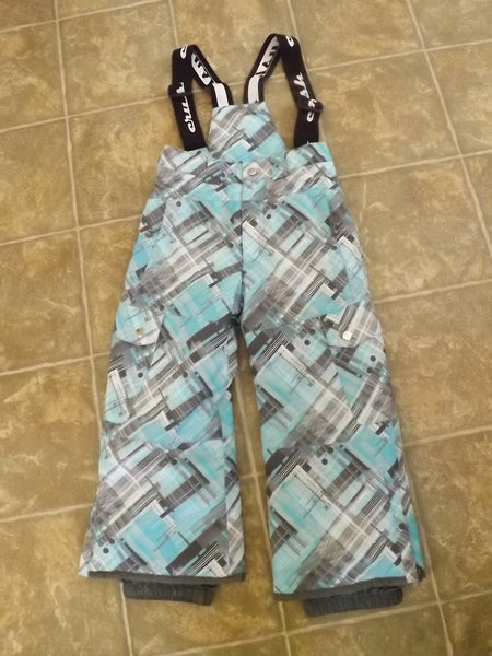 Snow Pants Child Size 4 Crush Teal Green Grey Removable Straps Snowboarding  *