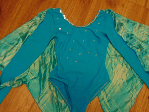Ballet Dance Figure Skating Child Size 8-10 Blue With Cape Nylon Spandex