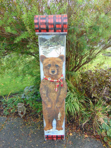 Artist Sarit Critters Vintage 1950's Large Metal Christmas Sled With Hand Cut & Painted Painting Grizzly Bear