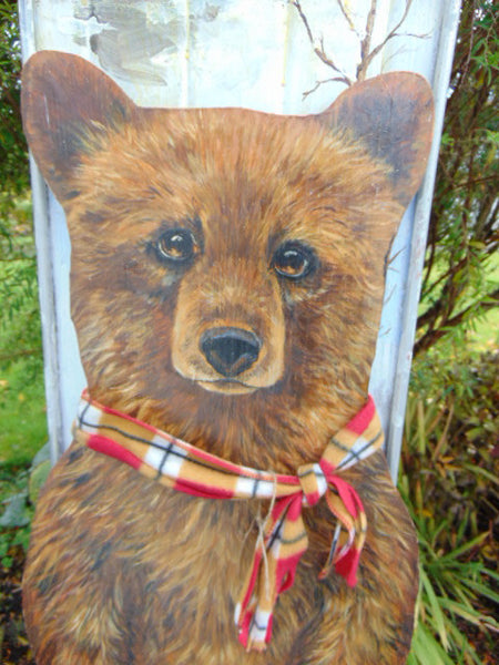 Artist Sarit Critters Vintage 1950's Large Metal Sled With Hand Cut & Painted Painting Grizzly Bear