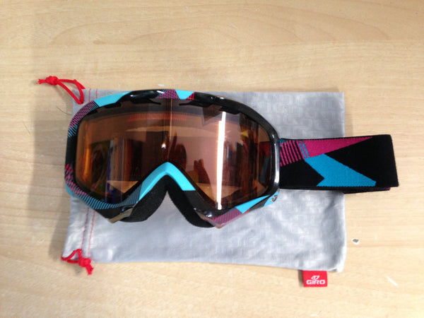 Ski Goggles Adult Size Giro Black Blue Purple Dark Lense and Grey Bag