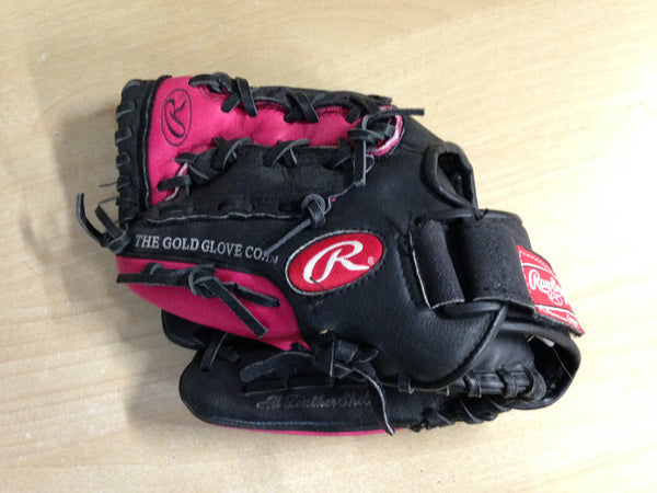 Baseball Glove Adult Size 11 inch Rawlings Black Pink Leather Fits on RIGHT Hand