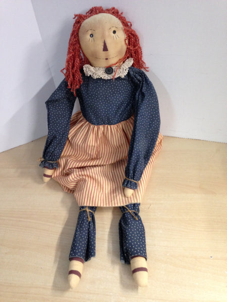 "Antique Looking Raggedy Ann Large Handmade Doll 36"" Tall"