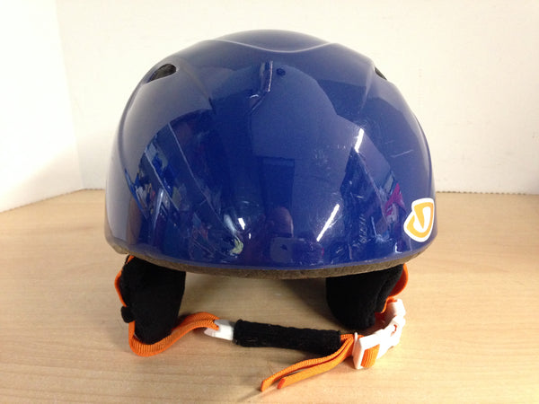 Ski Helmet Child Size Junior Small 6-8 Blue Orange With Goggle Straps Excellent
